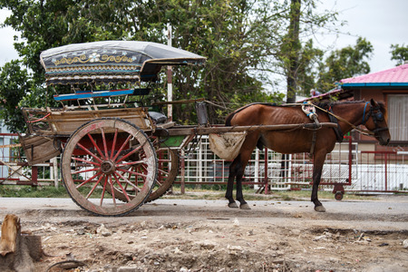 horse cart: Horse Cart inAmarapura town on the outskirts of Mandalay City in Myanmar (Burma) Stock Photo