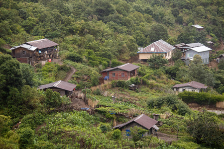 Village Settlement in the Chine State of Western Myanmar (Burma) Stock Photo