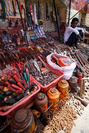 recorded: YANGON, MYANMAR - JUNE 12 2015: Metal tool shop on one of the hottest recorded days before monsoon season in Yangon, Myanmar.