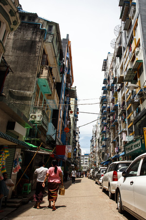 hottest: YANGON, MYANMAR - JUNE 12 2015: City center on one of the hottest recorded days before monsoon season in Yangon, Myanmar.