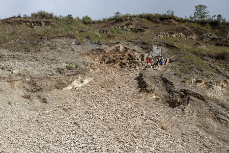 land slide: Land slide area above road in the outskirts of Kalay in the Mountains of Chin State, Myanmar (Burma)