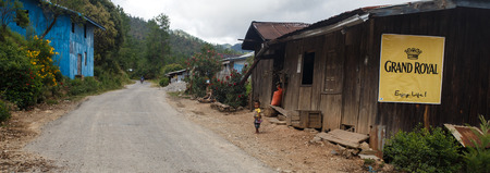 foreigners: CHIN STATE, MYANMAR - JUNE 16 2015: Children play in the street of a village in the recently opened to foreigners area of Chin State - western Myanmar (Burma)