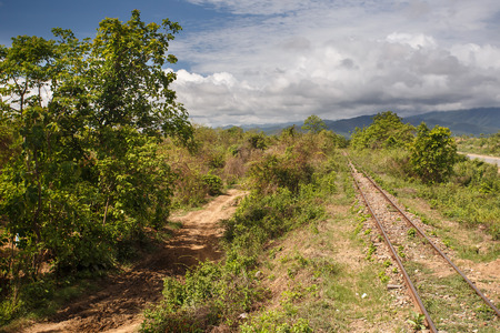 Train Line at the outskirts of Kalay in the Mountains of Chin State, Myanmar (Burma)