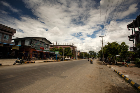 foreigners: CHIN STATE, MYANMAR - JUNE 16 2015: Village center view in the recently opened to foreigners area of Chin State - western Myanmar (Burma) Editorial