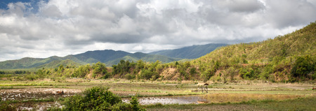 The flat grassy plains in the outskirts of Kalay in the Mountains of Chin State, Myanmar (Burma)