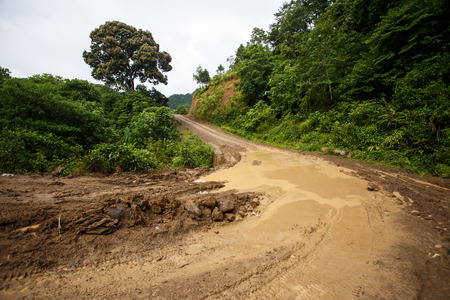 dirt road: Waterlogged Dirt Road Leading Through Chin State Mountainous Region, Myanmar (Burma) Stock Photo