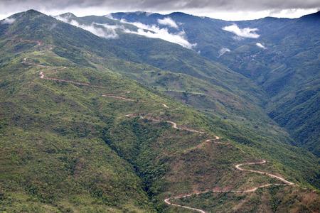 mountainous: Dirt Road Leading Through Chin State Mountainous Region, Myanmar (Burma)