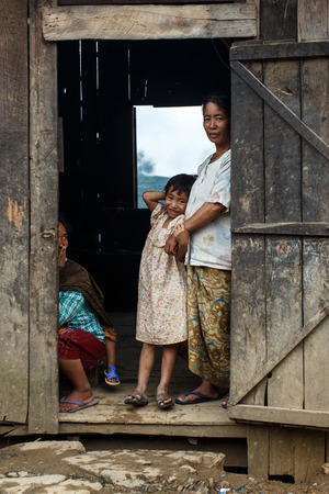 asian travel: CHIN STATE, MYANMAR - JUNE 22 2015: Local village people in the recently opened for tourists Chin State Mountainous Region, Myanmar (Burma) Editorial
