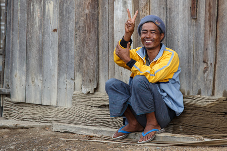 village man: CHIN STATE, MYANMAR - JUNE 22 2015: Local village man in the recently opened for tourists Chin State Mountainous Region, Myanmar (Burma)