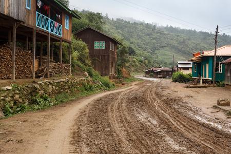 leading: Dirt road leading through Chin State in Myanmar (Burma)