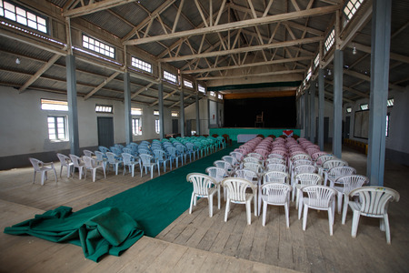 foreigners: FALAM, MYANMAR - JUNE 18 2015: Town hall interior in the recently opened to foreigners area of Chin State - western Myanmar (Burma)
