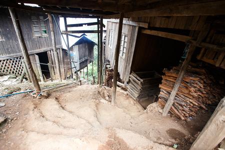 chin: Firewood Storage in Falam Town , Chin State, Western Myanmar (Burma) Stock Photo