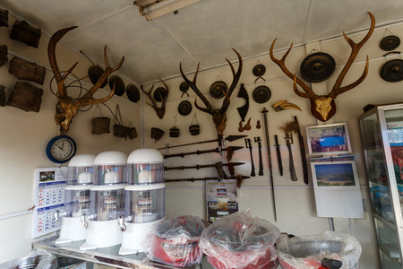 shop for animals: FALAM, MYANMAR - JUNE 18 2015: Deer antlers for sale in Falam Town in the recently opened to foreigners area of Chin State - western Myanmar (Burma) Editorial