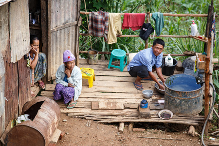 shanty: CHIN STATE, MYANMAR - JUNE 18 2015: Shanty town hut in the recently opened for tourists Chin State Mountainous Region, Myanmar (Burma)