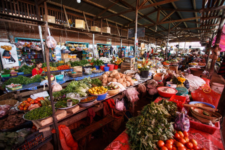 fruit market: CHIN STATE, MYANMAR - JUNE 18 2015: Fresh fruit and veg market in the recently opened for tourists Chin State Mountainous Region, Myanmar (Burma) Editorial