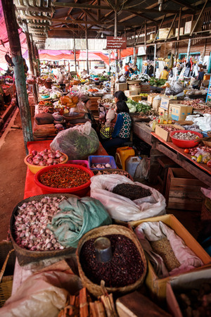 fruit and veg: CHIN STATE, MYANMAR - JUNE 18 2015: Fresh fruit and veg market in the recently opened for tourists Chin State Mountainous Region, Myanmar (Burma) Editorial