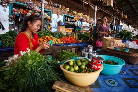 CHIN STATE, MYANMAR - JUNE 18 2015: Fresh fruit and veg market in the recently opened for tourists Chin State Mountainous Region, Myanmar (Burma) Editöryel