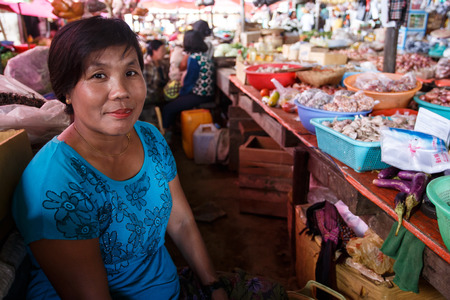 veg: CHIN STATE, MYANMAR - JUNE 18 2015: Fresh fruit and veg market in the recently opened for tourists Chin State Mountainous Region, Myanmar (Burma) Editorial