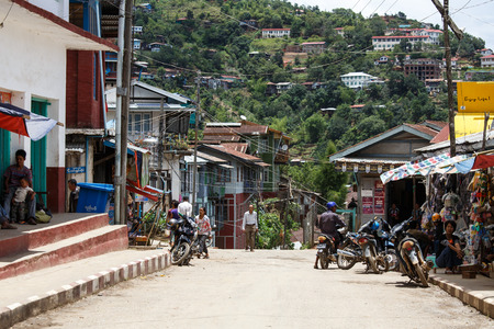 town houses: CHIN STATE, MYANMAR - JUNE 18 2015: Town view of Falam in the recently opened for tourists Chin State Mountainous Region, Myanmar (Burma)
