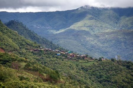 chin: Natural Landscape in Chin Mountains, Myanmar (Burma) Stock Photo