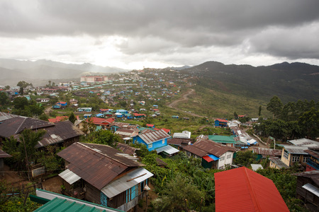 chin: Settlement in The Chin State Mountains, Myanmar (Burma) Stock Photo