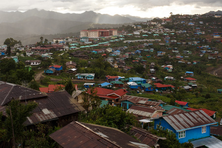 Settlement in The Chin State Mountains, Myanmar (Burma) Stock Photo