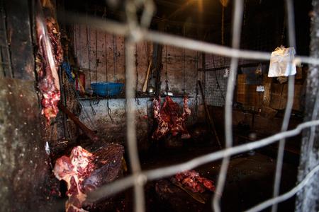hang body: Bloody Meat Hangs in Myanmar (Burma)