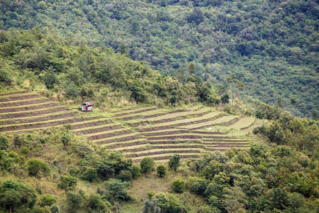 burmese: Natural Landscape with Agriculture in Chin Mountains, Myanmar (Burma) Stock Photo