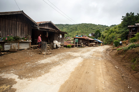 chins: HAKHA, MYANMAR - JUNE 19 2015: Local village in the Hakha region in Chin State, Myanmar.