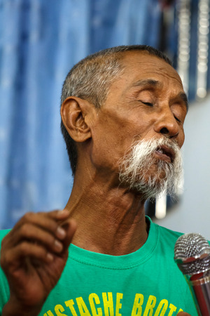 comedy show: MANDALAY, MYANMAR - JUNE 25 2015: Moutache brother Lu Maw, perform a politically sensitive comedy show which has gaine recognition Mandalay, Myanmar.
