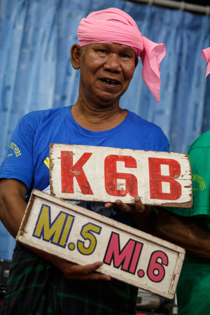 controversial: MANDALAY, MYANMAR - JUNE 25 2015: Moutache brother (Lu Zaw) performs a politically sensitive comedy show which has gaine recognition Mandalay, Myanmar.