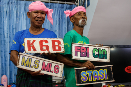 comedy show: MANDALAY, MYANMAR - JUNE 25 2015: Moutache brothers, Lu Maw and Lu Zaw, perform a politically sensitive comedy show which has gaine recognition Mandalay, Myanmar.