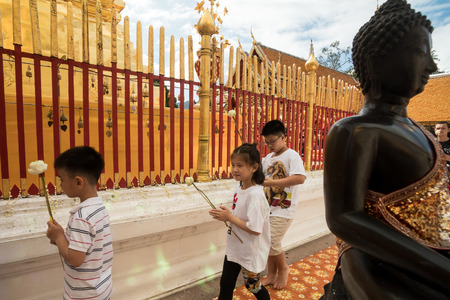 reigning: CHIN STATE, THAILAND - OCTOBER 15 2016: Thai people at Doi Suthep, mourn the death of their King - Bhumibol Adulyadej (the longest reigning monarch in the world), Chiang Mai, Thailand