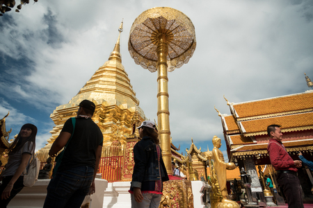 CHIN STATE, THAILAND - OCTOBER 15 2016: Thai people at Doi Suthep, mourn the death of their King - Bhumibol Adulyadej (the longest reigning monarch in the world), Chiang Mai, Thailand