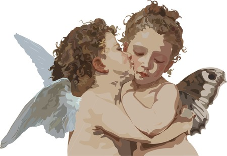 Cupid and Psyche as children Illustration