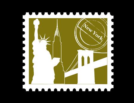 chrysler building: Stamp, New York     Illustration