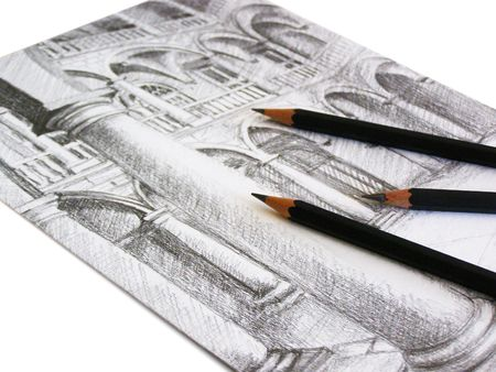 Black graphite Pencil Sketch on white paper