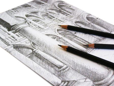 grafit: Czarny grafit Pencil Sketch na białym papierze