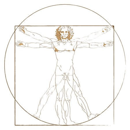 Vitruvian Man figure in superimposed positions by da Vinci Illustration