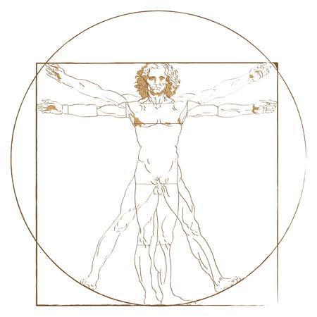 microcosm: Vitruvian Man figure in superimposed positions by da Vinci Illustration