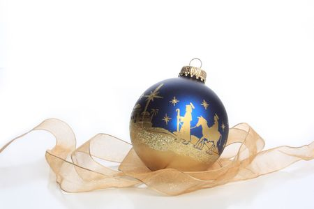 sphere: Glass Christmas ornament with nativity
