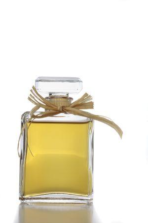 eau de perfume: Crystal glass perfume bottle isolated on white Stock Photo