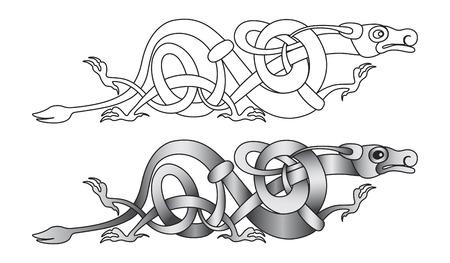 Decorativo estilizado dragón nudo celta trabajo ilustración
