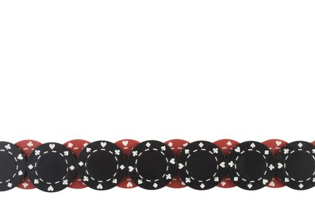 Poker chips border pattern isolated on white