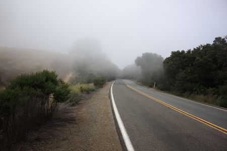 Rural road in thick fog landscape background