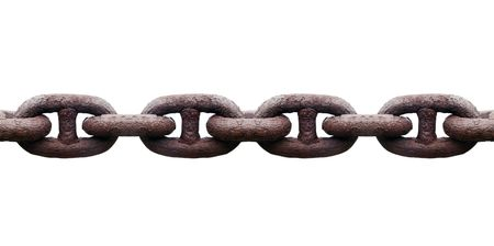 Rusty metal chain isolated on white background Stock Photo