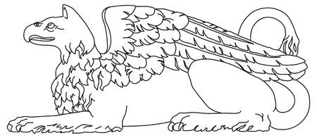 Griffin criatura mitol�gica con alas de cuerpo y aves de Le�n Foto de archivo - 8496089
