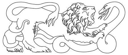 Lion battling a coiled snake isolated illustration