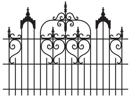 puertas de hierro: Puertas de hierro amplia con rizado ilustraci�n aislado de dise�o Vectores