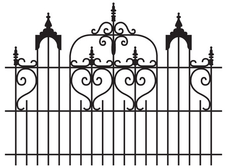 Wide iron gates with curly design isolated illustration
